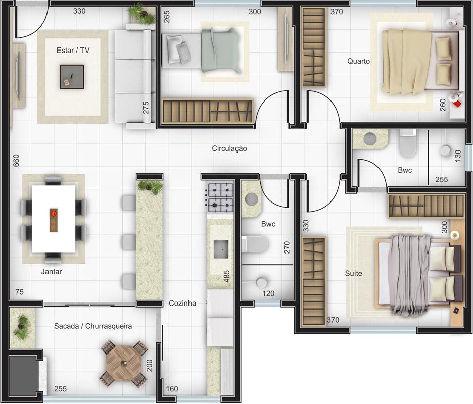 1 suíte 2 quartos Estar Jantar Cozinha Serviço Sacada c/ churrasqueira 2 vagas na garagem Área privativa: 86,24m² Área total: 138,81m²